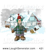 Humorous Clip Art of a Bundled White Man in Winter Clothes, Standing by a House with a Dog and Hot Chocolate Stand by Djart