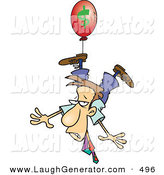 Humorous Clip Art of a Business Man Being Carried Away by a Red Inflation Balloon on White by Toonaday