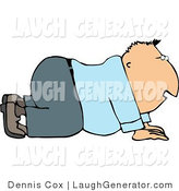 Humorous Clip Art of a Businessman Crawling Forward on His Hands and Knees by Djart