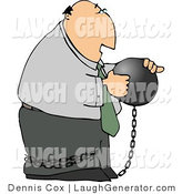 Humorous Clip Art of a Businessman Criminal Wearing a Ball and Chain Around His Ankle by Djart