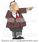 Humorous Clip Art of a Businessman in a Brown Suit Laughing While Pointing His Finger at Something by Djart