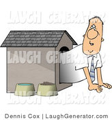 Humorous Clip Art of a Businessman Looking out from the Doghouse by Djart