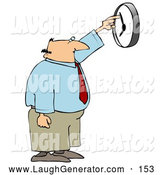 Humorous Clip Art of a Businessman Trying to Push the Hand on a Wall Clock to Speed up His Work Day by Djart