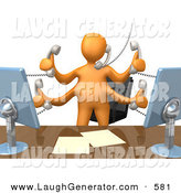 Humorous Clip Art of a Busy Orange Employee Person Standing in Front of Their Desk Chair, Two Computer Screens and Papers on Their Desk While Multitasking and Taking Multiple Phone Calls at Once by 3poD