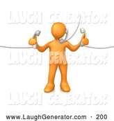 Humorous Clip Art of a Busy Orange Person Handling Three Customer Service Lines and Multi Tasking at the Office by 3poD