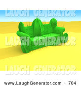 Humorous Clip Art of a Cactus Plant in an Empty Desert, Shaped like a Couch, Inviting Unfortunate People to Sit on It by 3poD