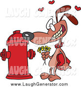 Humorous Clip Art of a Cartoon Dog Trying Courting a Fire Hydrant by Toonaday