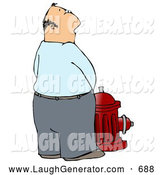 Humorous Clip Art of a Casual Caucasian Man Urinating on a Red Fire Hydrant at Night by Djart