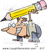 Humorous Clip Art of a Caucasian Business Man Jumping with a Giant Pencil by Toonaday
