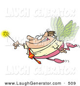 Humorous Clip Art of a Caucasian Business Man Office Fairy with Wings and a Magic Wand on White by Toonaday