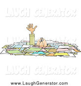 Humorous Clip Art of a Caucasian Businessman Drowning in Paperwork by Djart