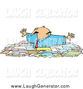 Humorous Clip Art of a Caucasian Businessman Wading Chest High Through Paperwork by Djart