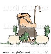 Humorous Clip Art of a Caucasian Caveman Shepherd Tending to His Wooly Dinosaurs by Djart
