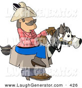 Humorous Clip Art of a Caucasian Cowboy Riding a Stick Horse by Djart