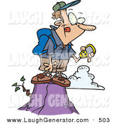 Humorous Clip Art of a Caucasian Hiker Man on Top of a Mountain, Using a GPS by Toonaday