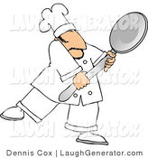 Humorous Clip Art of a Caucasian Male Chef in Whites Carrying a Big Spoon by Djart