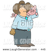 Humorous Clip Art of a Caucasian Male Farmer Carrying a Pet Pig on His Shoulder by Djart