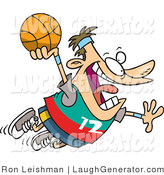 Humorous Clip Art of a Caucasian Man About to Slam Dunk a Basketball by Toonaday