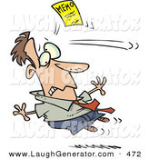 Humorous Clip Art of a Caucasian Man Being Attacked by a Yellow Memo Paper by Toonaday