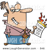 Humorous Clip Art of a Caucasian Man Burning His Mortgage Papers by Toonaday