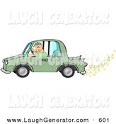Humorous Clip Art of a Caucasian Man Driving a Biodiesel Green Car with Popcorn Popping out of the Muffler by Djart