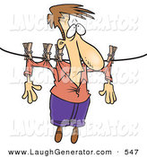 Humorous Clip Art of a Caucasian Man Hanging on a Clothes Line to Dry by Toonaday