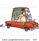 Humorous Clip Art of a Caucasian Man Squished into a Tiny Red Compact Mini Car by Toonaday