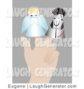 Humorous Clip Art of a Caucasian Person's Hand with Two Little Puppets on the Fingers, an Angel with a Halo and a Devil with a Pitchfork, Symbolizing Conscience by Eugene