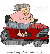 September 8th, 2014: Humorous Clip Art of a Caucasian Woman Having Fun, Her Hair Blowing Back in the Wind, While Racing a Red Riding Lawn Mower by Djart