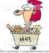 Humorous Clip Art of a Caucasian Woman in a Mail Cart, Stamped with Postage by Toonaday