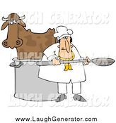 Humorous Clip Art of a Chef by a Cow in a Pot by Djart