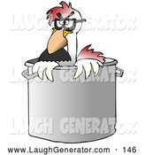 Humorous Clip Art of a Chicken in a Stock Pot in a Kitchen by Djart