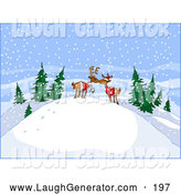 Humorous Clip Art of a Chilly Hill in the Woods on a Snowy Day by
