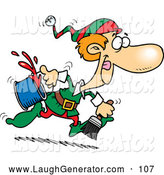 Humorous Clip Art of a Christmas Elf Running with a Paint Bucket by Toonaday