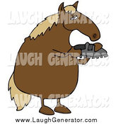 Humorous Clip Art of a Chubby Brown Horse Standing on His Hind Legs and Inspecting a Shoe by Djart