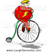 Humorous Clip Art of a Chubby Caucasian Man in a Red Suit and Yellow Helmet, Riding High up on a Penny Farthing Bicycle by Holger Bogen