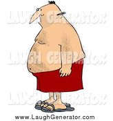 Humorous Clip Art of a Chubby Hairy Man in Profile by Djart