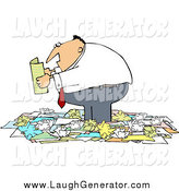 Humorous Clip Art of a Chubby White Businessman Standing in a Pile of Crumpled Papers and Reading by Djart