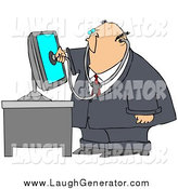 Humorous Clip Art of a Chubby White Male Computer Repair Doctor Holding a Stethoscope up to a Computer Monitor by Djart