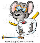 Humorous Clip Art of a Clumsy Gray Mouse Rolled up in a Ball of Snow, Trying to Get up by Dero
