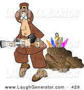 Humorous Clip Art of a Colorful Rainbow Turkey Behind a Rock, Hiding from a Pilgrim with a Blunderbuss Gun by Djart