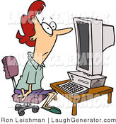 Humorous Clip Art of a Computer Illiterate Woman Sitting in Front of a Desktop Computer by Toonaday
