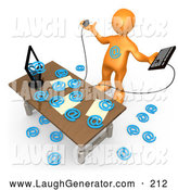 Humorous Clip Art of a Computer in an Office Flooding Email Addresses, Symbolizing Computer Viruses or Email Spamming by 3poD