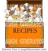 Humorous Clip Art of a Concept: a Group of Chefs and Cooks in a Recipe Box Clipart by Djart