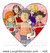 Humorous Clip Art of a Confused Boy on Valentines Day, Surrounded by Girls That Are Attracted to Him by Djart