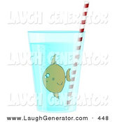 Humorous Clip Art of a Confused Brown Tropical Fish in a Glass of Water with a Straw by Djart