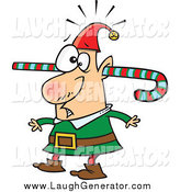 Humorous Clip Art of a Confused Christmas Elf Walking Around with a Colorful Striped Candy Cane Going Through One Ear and out the Other by Toonaday