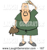 Humorous Clip Art of a Confused Man Wearing a Green Robe and Slippers, Applying Hairpiece Glue on Top of His Bald Head to Make His Toupee Stay by Djart