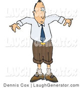 Humorous Clip Art of a Confused Man Wearing a Small Business Suit - Business Humor by Djart