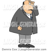 Humorous Clip Art of a Confused Man with Short Term Memory Scratching His Head While Trying to Remember Something by Djart